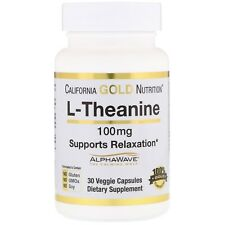 California Gold Nutrition, L-Theanine,Supports Relaxation, Focus - 60VCaps 100mg