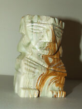 Vintage Southwestern Carved Agate Stone Green Marble Tribal Statue Icon Figurine
