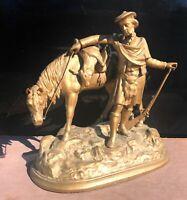 "Heavy Vintage European Hunter Huntsman Stag Deer Sculpture Figurine 12"" T 12""W"