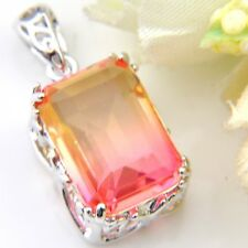 Holiday Jewelry Gift Bi-Color Tourmaline Gems Silver Pendant Necklace With Chain