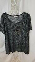 """Croft & Barrow"" XL Women's Short Sleeve Black & Gray Print Tunic Top"