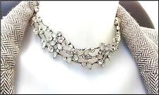 Pilgrim Collar Necklace Jewelry Swarovski Crystals AB Silver Delicate