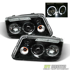 Black 1999-2005 VW Jetta Mk4 Bora Halo Projector LED Headlights Lamps Left+Right