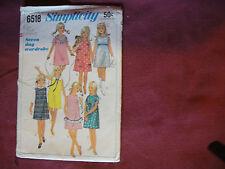 Vtg Simplicity Pttn 6518 Girls Dress Jumper 1966 Sz 8 Child A-Line Zipper Collar