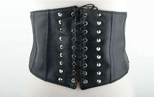 Womens Gothic Steampunk Rivet Wide Leather Corset Waist Lace-up Belt New Black