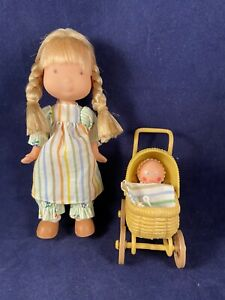 """Knickerbocker Holly Hobbie 6"""" AMY DOLL with Baby & Carriage Playset items 1975"""