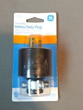 GE 52146 GROUNDING HEAVY DUTY PLUG 15A / 125VAC MAX with METAL CORD CLAMP Black