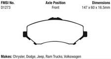 EBC Yellowstuff Brake Pad Set Front for 08-19 Journey / 07-19 Wrangler #DP41798R