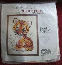 """New listing Vtg 1980 Cm Columbia Minerva Crewel Tiger Cub Kit 9"""" x 12"""" Morehead Young'uns"""