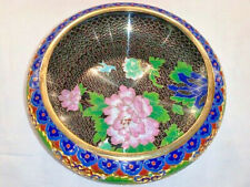 Vintage Blue & Pink Floral Chinese Cloisonne Brass Bowl w Turquoise Color Bottom