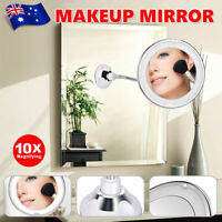 360° Flexible Illuminated Makeup Mirror 10x Magnifying Bendable Neck LED Light