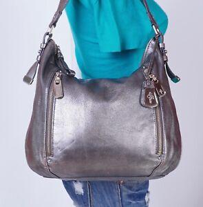 COLE HAAN Large Silver  Leather Shoulder Hobo Tote Satchel Purse Bag