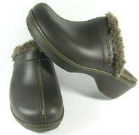 Crocs Women's Shoes Clogs Mules Slides Brown Lined Comfort Slip-On Cobbler 10M