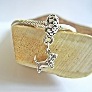 Basset Hound Mini Ster Silver European-Style Charm and Bracelet- Free Shipping