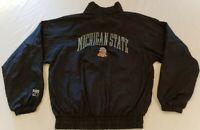Vintage Michigan State Spartans Logo 7 Zip Up Windbreaker Jacket Size M Black