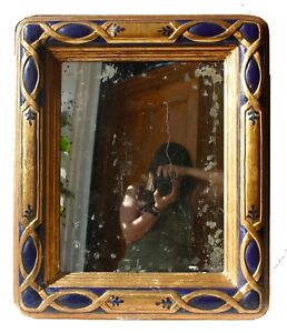 Vintage Persian-style Blue & Gold Framed Wall-Hanging Oxidized Mirror