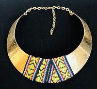 Egyptian Aztec Gold Tone Metal Bib Collar Choker Necklace Adjustable