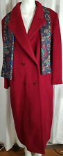 London Fog Virgin Wool Coat Red Womens 12 M Dress Topcoat Double Breast W Scarf