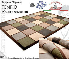Tappeto Moderno TEMPIO 170x240cm Lana Annodato Design Formelle Quadri Marrone