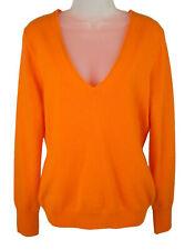 Women's J. Crew Orange V Neck Cashmere Sweater Size L