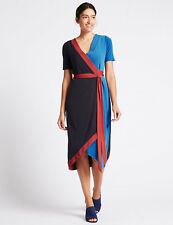 Ex PER UNA Colour Block Short Sleeve Wrap Midi Dress   Size 14