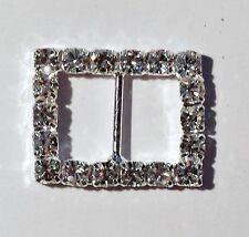 5 Silver Grade A Rhinestone Crystal Rectangle Ribbon Slider Buckle 6mm Bar Metal