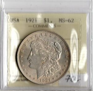 United States 1921 Morgan Silver Dollar ICCS Certified MS-62