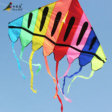 NEW 2.1m 7ft colourful Giant Delta kite Single Line Triangle Outdoor Fun Sports