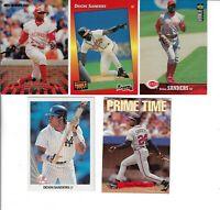 DEION SANDERS 1990 LEAF BASEBALL ROOKIE & 4 MORE CARDS PRIME TIME