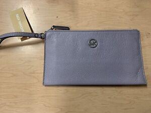 Michael Kors Fulton Lilac Leather Large Zip Clutch Wristlet NEW