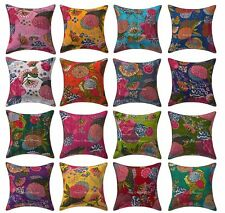Indian Handmade Decorative Floral Pillow Tropicana Cotton Kantha Cushion Cover