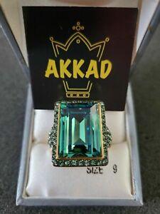 AKKAD DESIGNER Blue Green Emerald Cut, Topaz Crystal,  Ring Size 9, Pre-Owned