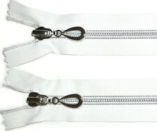 "ZIP WHITE 43.5""/110CMS SILVER NYLON SPIRAL TEETH COIL ZIPPER TWO WAY CLOSED END"
