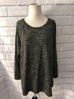 NWT Style & Co Gray Tunic Sz L Long Sleeve Lounge Top New Charcoal Slits Shirt