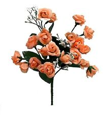 20 Mini Open Roses Artificial Wedding Bouquets Centerpieces Silk Flowers Crafts