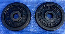"""ONE PAIR 3 LB. WEIDER BARBELL / DUMBBELL WEIGHT PLATES - STANDARD 1"""" HOLE"""