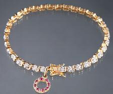 ROSS SIMONS TENNIS BRACELET GOLD OVER STERLING SILVER 925 GENUINE RUBY CHARM