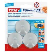 Tesa power strips small gancio adesivo rotondo cromato 57578 max 1Kg 3 pz sicuro