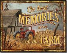 The Best Memories Are Made On The Farm Barn Tractor Nostalgic Tin Metal Sign NEW