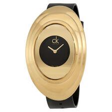 Calvin Klein Mound Black Dial Leather Ladies Watch K9322202