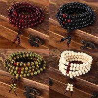8mm Sandalwood Buddhist Buddha Meditation 108 Prayer Bead Mala Necklace Bracelet