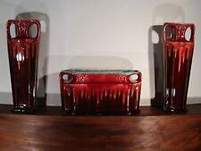 Garniture de Cheminée Vase Jardinière ART DECO Faïence Barbotine ORCHIES n° 507