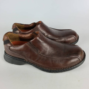 Clarks Mens Slip-On Shoes Brown Perforated Bicycle Toe 11M