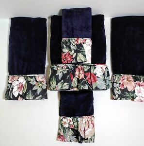 NEW Avanti Rose Arbor Floral Montague Black TOWEL Set Croscill – RARE