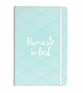 """KESS InHouse""""Namaste In Bed Teal"""" Blue/White Everything Notebook, 8 x 5.5"""""""