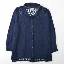 Catherines Knit Lace Front Shirt Top Blue Button Front Cotton Womens 3X 26 28W