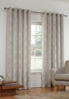 Sienna Modern Wave Eyelet Ring Top Lined CREAM or BLACK SILVER & GREY Curtains.