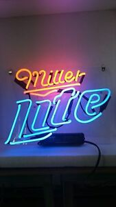 "New Miller Lite Neon Light Sign Lamp Beer Pub Acrylic 14"""