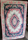 Vintage Kashmir Wool Chain Stitched STAR OF KASHMIR Wall Rug with Cotton Backing