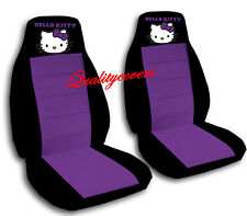 Hello Kitty Car Seat Covers Velour Front Set in Black & Purple or choose color
